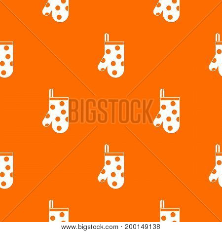 Kitchen glove pattern repeat seamless in orange color for any design. Vector geometric illustration