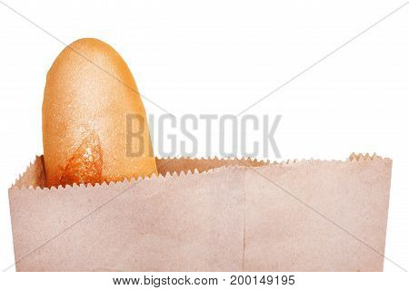 Loaf of baguette paper bag isolated on white background clipping path