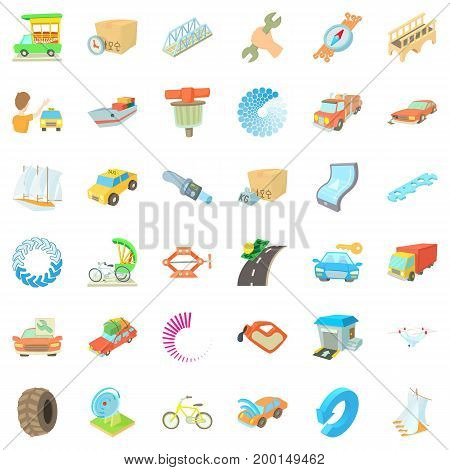 Repairing car icons set. Cartoon style of 36 repairing car vector icons for web isolated on white background