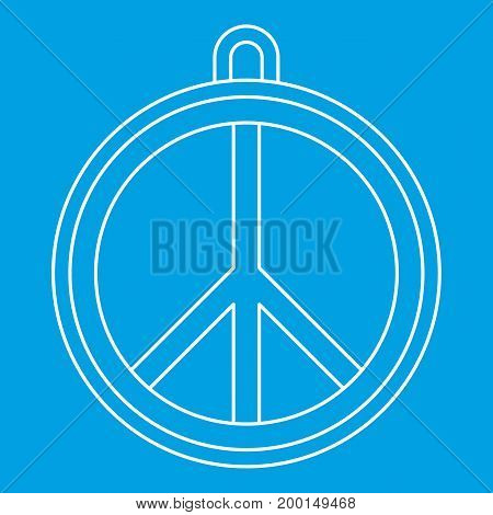 Rock sign icon blue outline style isolated vector illustration. Thin line sign