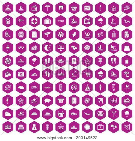 100 seaside resort icons set in violet hexagon isolated vector illustration