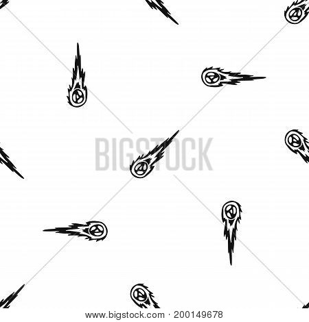 Meteorite pattern repeat seamless in black color for any design. Vector geometric illustration