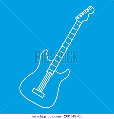Acoustic guitar icon blue outline style isolated vector illustration. Thin line sign
