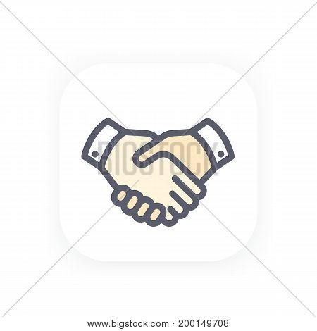 handshake icon, partnership, shaking hands, agreement vector pictogram in flat style with outline