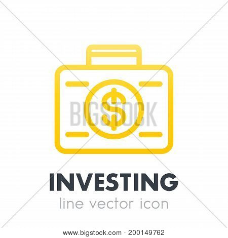 investing icon, banking, investor, suitcase with money line pictogram on white