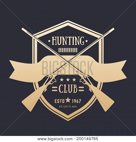 Hunting club vintage logo with two crossed old rifles, vector emblem
