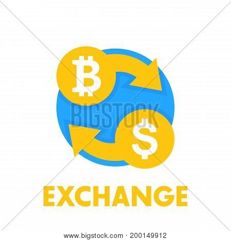 Bitcoin exchange icon over white, eps 10 file, easy to edit