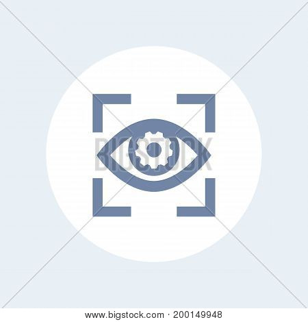 eye with gear icon isolated on white, retina scanning, biometric recognition symbol