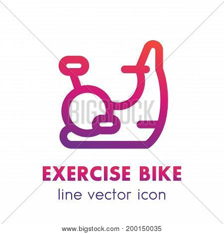 exercise bike line icon, pictogram isolated over white