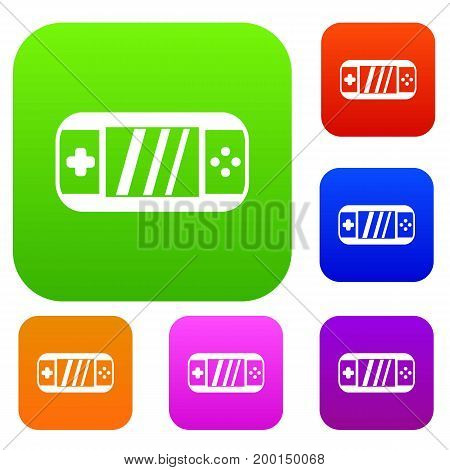 Portable video game console set icon in different colors isolated vector illustration. Premium collection
