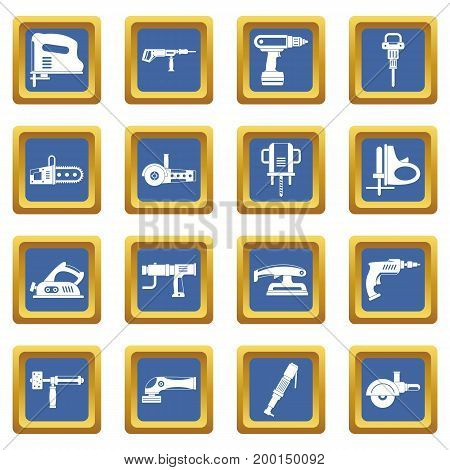 Electric tools icons set in blue color isolated vector illustration for web and any design