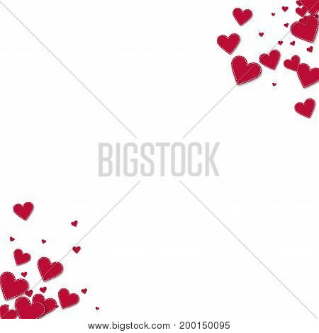 Red Stitched Paper Hearts. Circular Corners On White Background. Vector Illustration.