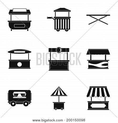 Market stall icon set. Simple style set of 9 market stall vector icons for web isolated on white background