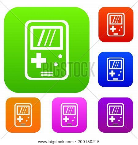 Tetris set icon in different colors isolated vector illustration. Premium collection
