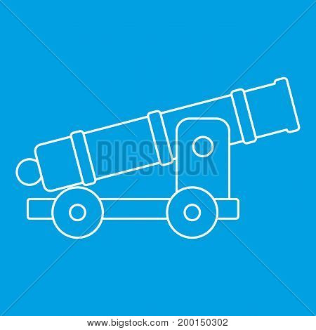 Cannon icon blue outline style isolated vector illustration. Thin line sign