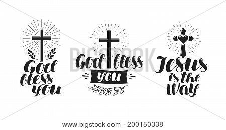 Religion, cross, crucifixion icon or symbol. Lettering, calligraphy vector illustration isolated on white background