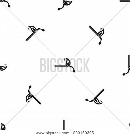 Burning match pattern repeat seamless in black color for any design. Vector geometric illustration