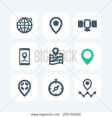 navigation icons isolated on white, eps 10 file, easy to edit
