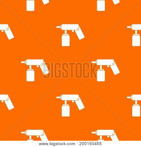 Spray aerosol can bottle with a nozzle pattern repeat seamless in orange color for any design. Vector geometric illustration