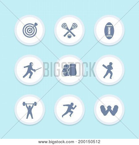 sports icons set, archery, lacrosse, cricket, football, fencing, boxing, weightlifting, running, arm wrestling vector pictograms
