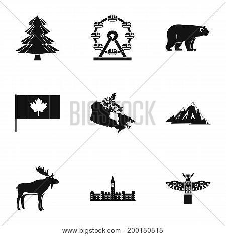 Landmarks of Canada icon set. Simple style set of 9 landmarks of Canada vector icons for web isolated on white background