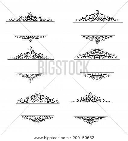 Vintage vector swirl frame set on white