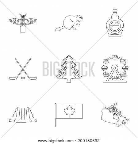 Canada icon set. Outline style set of 9 Canada vector icons for web isolated on white background