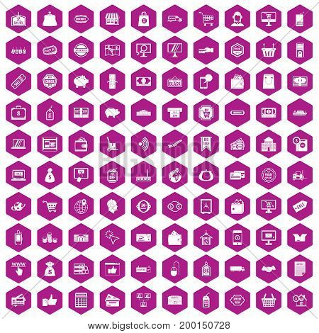 100 shopping icons set in violet hexagon isolated vector illustration