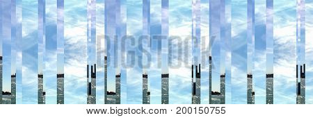 Abstract seascape of the sea with land in the background on a sunny day with clouds in the sky and space for text.