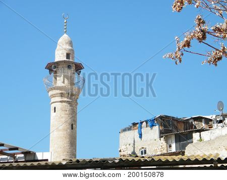 The minaret of Al-siksik mosque in old city Jaffa Israel
