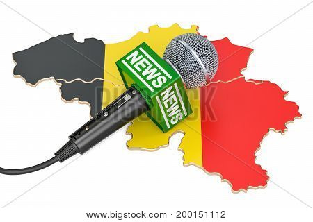 Belgian News concept microphone news on the map of Belgium. 3D rendering