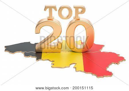 Belgian Top 20 concept 3D rendering isolated on white background