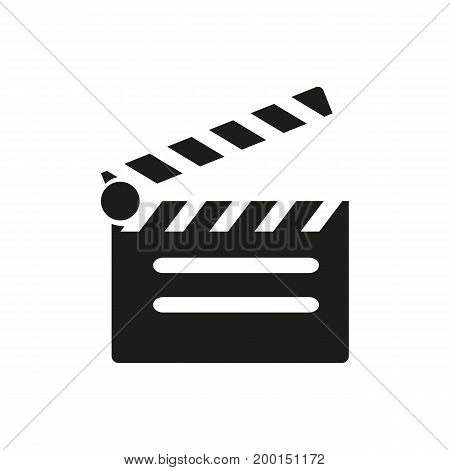 Simple icon of clapperboard. Filming, cinema, clapper. Movie concept. Can be used for topics like entertainment, movie making, cinematography