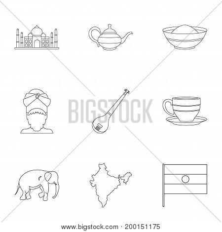 Landmarks of India icon set. Outline style set of 9 landmarks of India vector icons for web isolated on white background