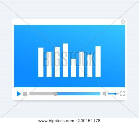 video, audio player interface, light modern template, vector illustration, eps 10 file, easy to edit