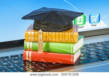 education concept books with graduation cap on laptop keyboard 3D rendering