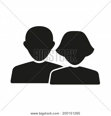 Simple icon of adult couple. Relations, family, people. Love concept. Can be used for web pictograms, application and button icons