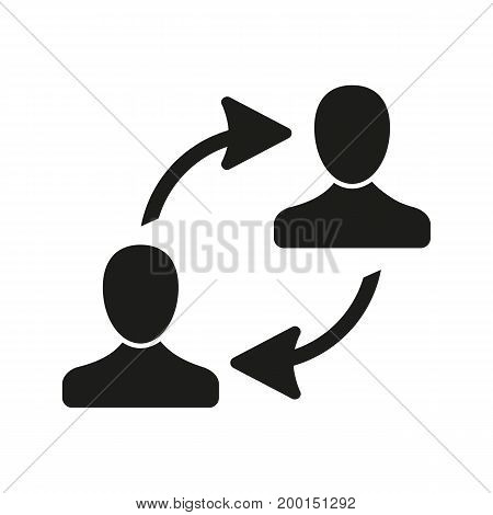 Simple icon of exchange between people. Communication, partnership, teamwork. Resources concept. Can be used for topics like business, management, education