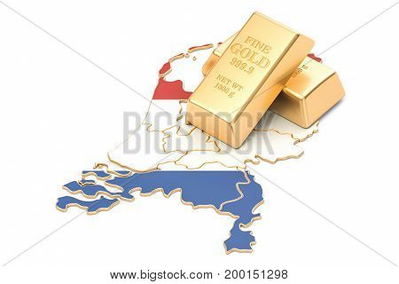 Foreign-exchange reserves of Netherlands concept 3D rendering isolated on white background