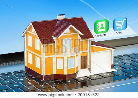 House on modern laptop keyboard 3D rendering