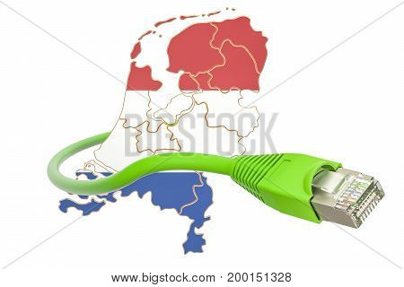 Internet connection in Netherlands concept. 3D rendering isolated on white background