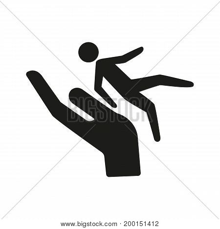 Simple icon of person falling on hand. Incidence, injury, danger. Insurance concept. Can be used for topics like safety, life assurance, accident