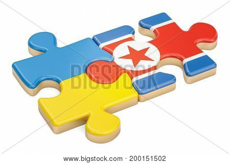 North Korea and Ukraine puzzles from flags 3D rendering isolated on white background