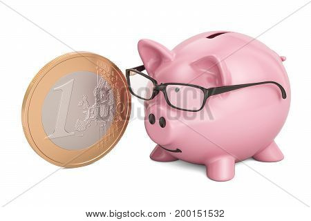 Piggy bank with euro coin 3D rendering isolated on white background