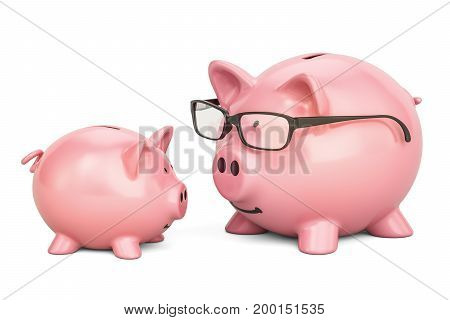 Piggy banks 3D rendering isolated on white background