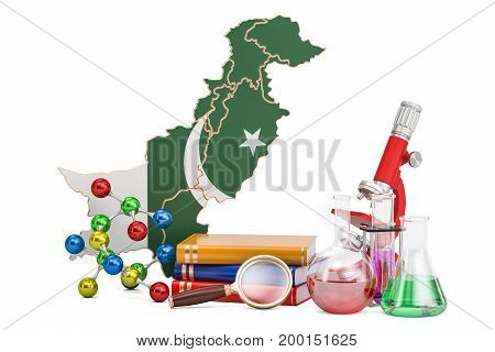 Scientific research in Pakistan concept 3D rendering isolated on white background