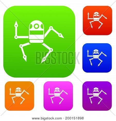 Spider robot set icon in different colors isolated vector illustration. Premium collection