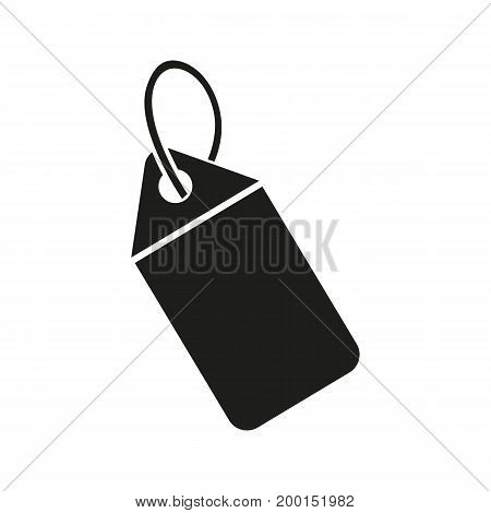 Simple icon of label on string. Tag, price tag, sticker. Basket concept. Can be used for topics like shopping, sale, commerce