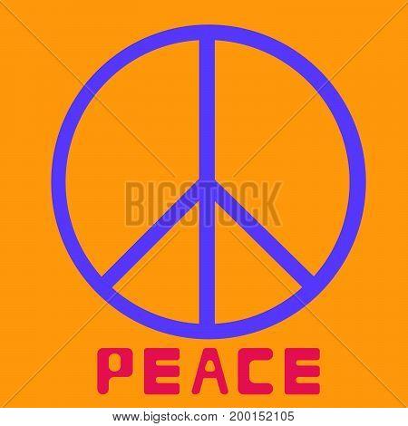 peace symbol icon vector friendship pacifism on orange background Flat design Vector Illustration