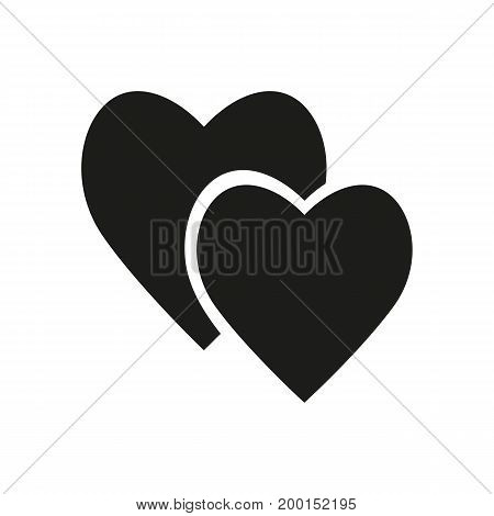 Simple icon of pair of hearts. Love, couple, Valentine Day. Love concept. Can be used for greeting cards, postcards, web pictograms